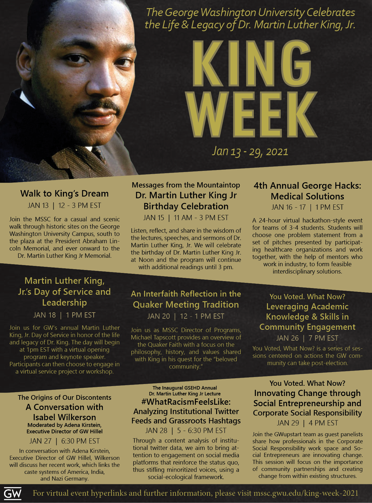 King Week 2021 Flyer. See above for full schedule in text form.