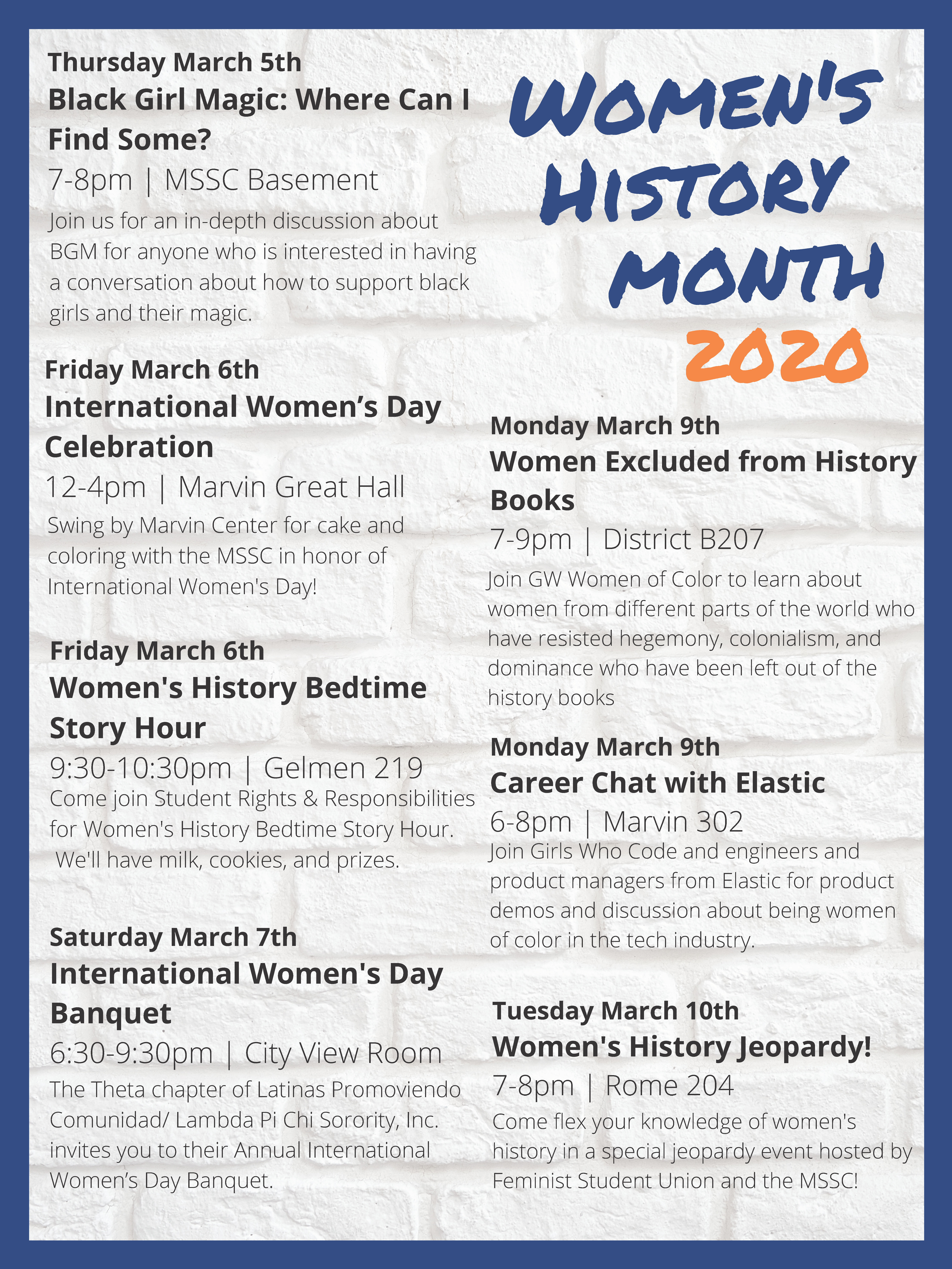 Women's History Month Calendar Poster, see above for full written schedule.