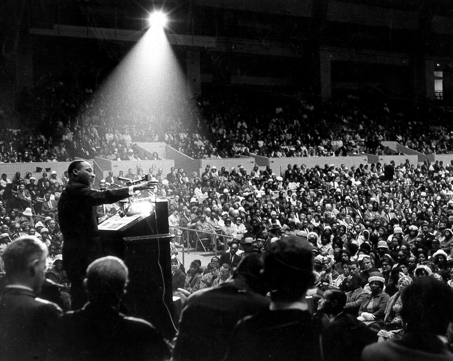 Martin Luther King Jr. speaking at a rally.